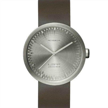 LEFF Amsterdam Horloge Tube watch D42 geborsteld rvs met bruin leren band waterdicht Ø42x10,6mm