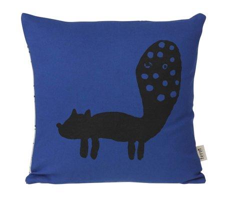 Ferm Living Sierkussen Fox blauw zwart 30x30cm