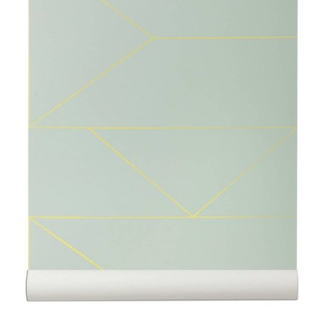 Ferm Living Behang Lines mint groen 10x0,53m