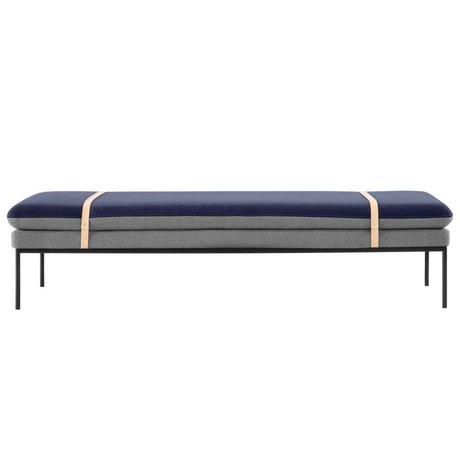 Ferm Living Bankje daybed Turn grijs, blauw wol 190x80x42cm
