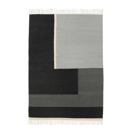 Ferm Living Vloerkleed Kelim Section grijs medium 140x200cm