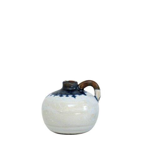 HK-living Potje keramiek met blauwe druppels medium 11x10x9cm