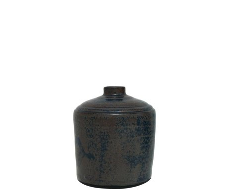 HK-living Vaas / potje keramiek geërodeerd zwart 14x14x18cm