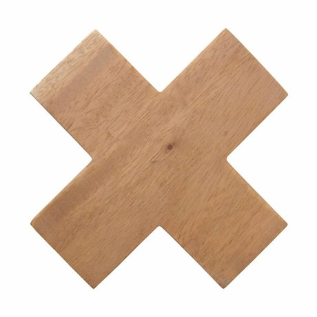 HK-living Kruis haak hout naturel large 12x12x4cm