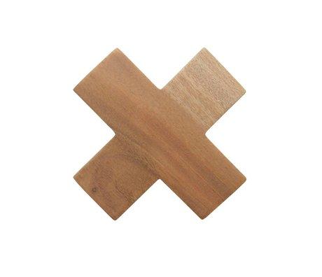 HK-living Kruis haak hout naturel medium 9x9x3,5cm