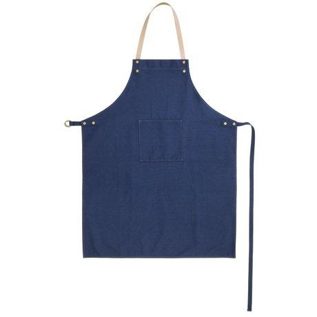 Ferm Living Keukenschort blauw organisch katoen en leer 70x84cm