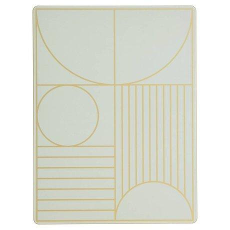 Ferm Living Placemat Outline mint groen hout kruk 40x30cm