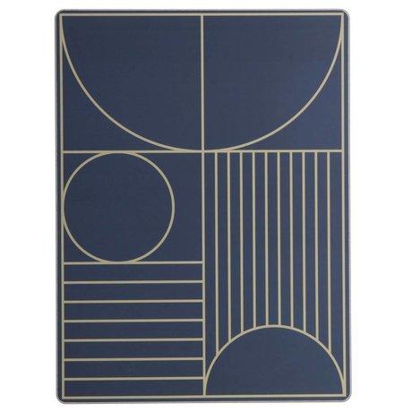 Ferm Living Placemat Outline donker blauw hout kruk 40x30cm