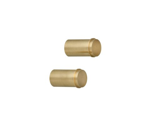 Ferm Living Wandhaakjes set van 2 brass goud 3,5x2cm