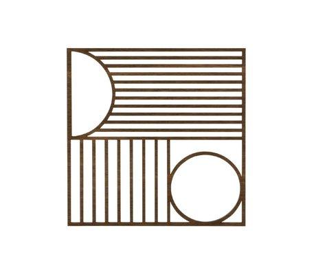 Ferm Living Onderzetter Outline trivet square eiken hout 13,5x13,5cm