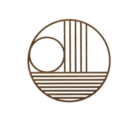 Ferm Living Onderzetter Outline trivet circle eiken hout Ø13.5cm