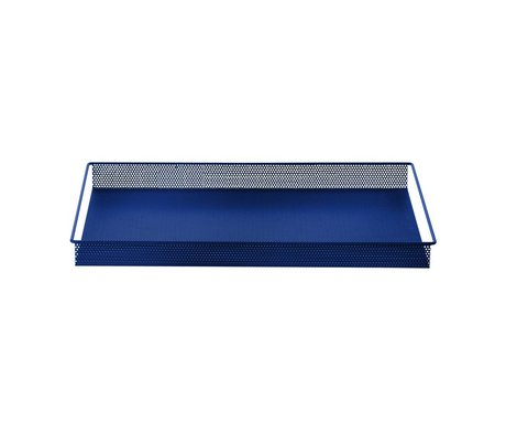 Ferm Living Dienblad / Opberg Tray blauw metaal large 44x32x3,8cm