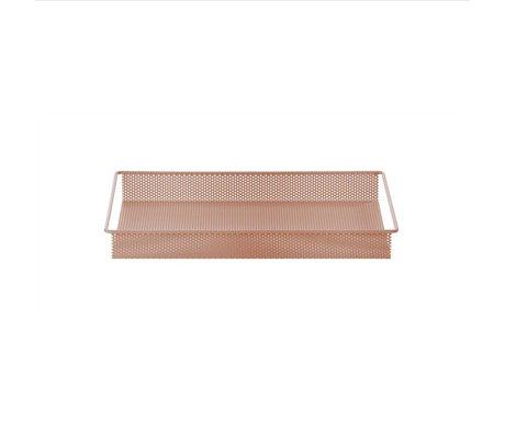 Ferm Living Dienblad / Opberg Tray roze metaal small 32x23x3,8cm
