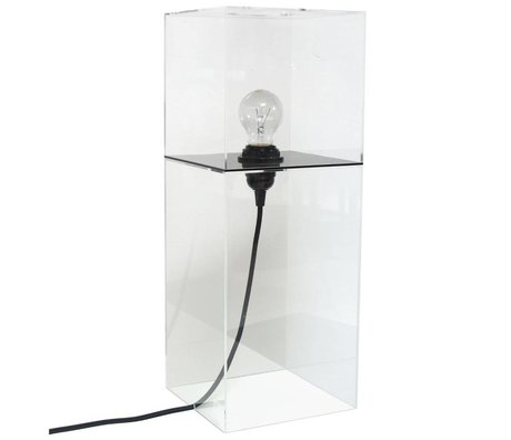 HK-living Tafellamp plexi transparant zwart large h48cm