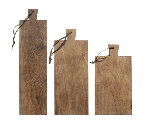 HK-living Broodplanken teakhout gerecycled, set van 3 planken