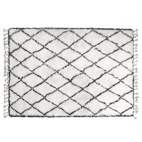 HK-living Vloerkleed berber met franjes wol zwart wit ruit patroon 180x280cm
