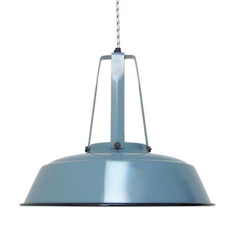 HK-living Hanglamp workshop industrial blue blauw LARGE, industriële lamp 45x45x40cm