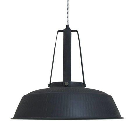 HK-living Hanglamp workshop zwart mat rustiek LARGE, industriële lamp 45x45x40cm