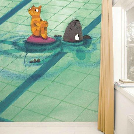 KEK Amsterdam Behang Swimming Lesson multicolour vliespapier 389,6x280cm