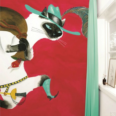 KEK Amsterdam Behang The Booted Cat multicolour vliespapier 292,2x280cm