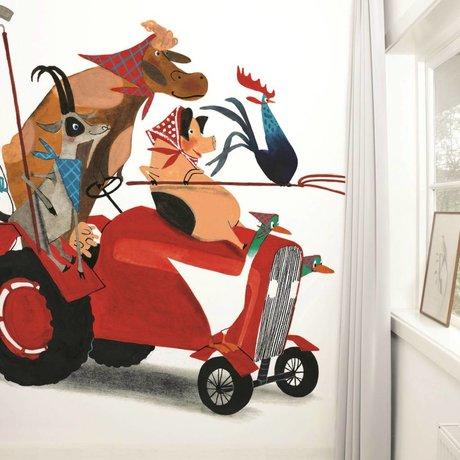 KEK Amsterdam Behang Tractor Race multicolour vliespapier 389,6x280cm