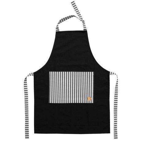 OYOY Keukenschort CIBO apron zwart wit canvas katoen 92x86cm