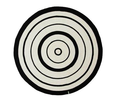 OYOY Vloerkleed Circle Rug wit zwart katoen 120cm