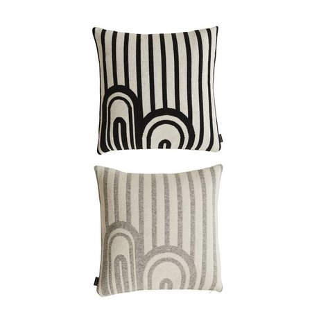 OYOY AYO sierkussen Wit/Zwart & Wit/Grijs 50x50 cm