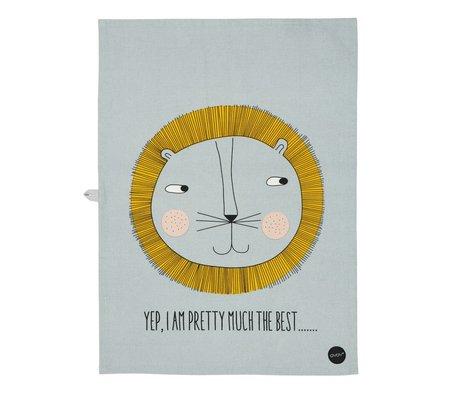 OYOY Theedoek Leeuw geel grijs katoen 70x50 cm