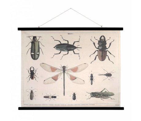 HK-living Schoolplaat Insecten geprint katoen hout 105x85x2,5cm