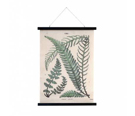 HK-living Schoolplaat Botanisch geprint katoen hout 55x75x2,5cm