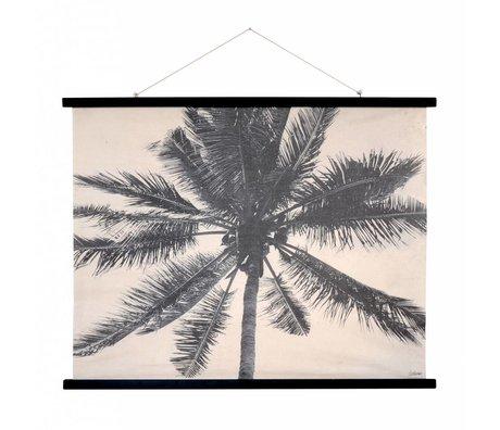 HK-living Schoolplaat Palmen geprint katoen hout 105x85x2,5cm
