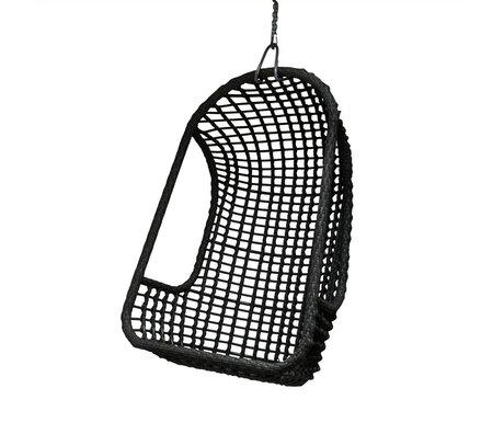 HK-living Hangstoel zwart polyethyleen 77x55x110cm