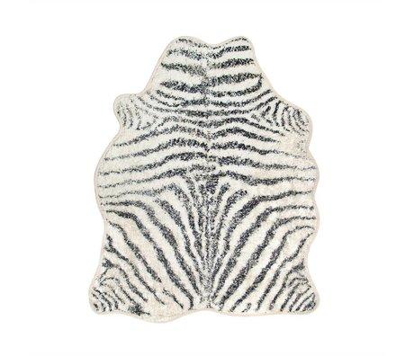 HK-living Vloerkleed Zebra badmat wit zwart katoen 85x100cm