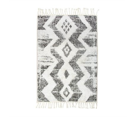 HK-living Vloerkleed Zigzag badmat wit grijs katoen 75x110cm
