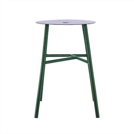 Housedoctor Kruk K-stool groen staal leer 48x35x35cm