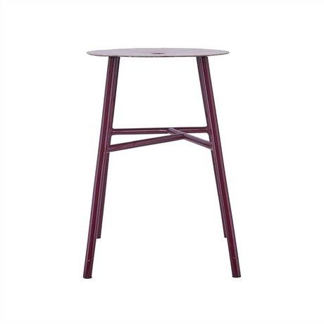 Housedoctor Kruk K-stool bordeaux rood staal leer 48x35x35cm