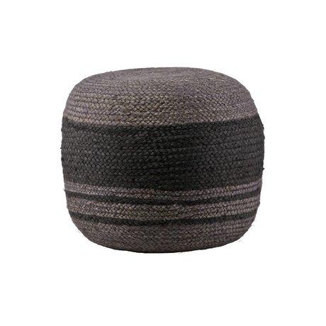 BePureHome Poef Coarse grijs zwart sisal Ø46x34cm