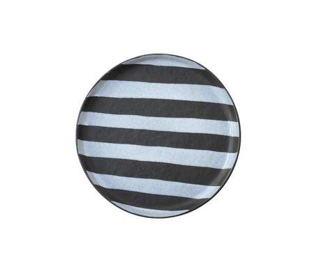 HK-living Dessertbord wit zwart keramiek 17x17x1,5cm