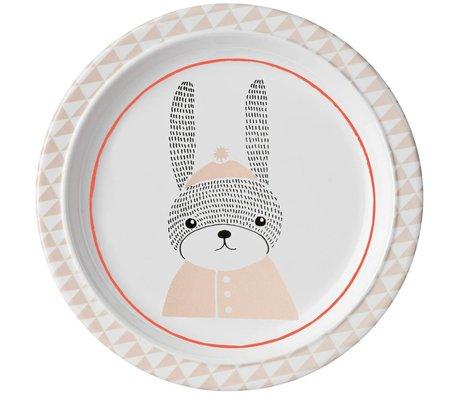 Bloomingville Bord Sophia konijn wit roze melamin Ø22x2cm