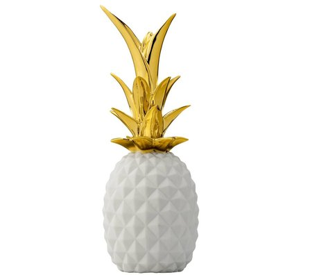 Bloomingville Deco Ananas wit goud keramiek Ø9x24cm