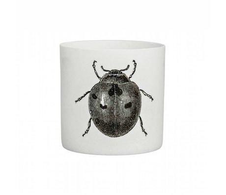 Bloomingville Waxinelichthouder insect wit zwart aardewerk Ø6x6cm