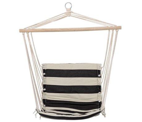 Bloomingville Hangstoel strepen zwart wit met kussenhoes 50x96cm