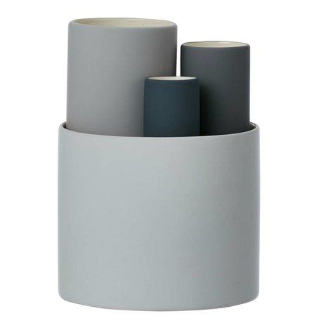 Ferm Living Vaas Collect set van 4 vazen grijs tinten Ø14,5x19,5cm