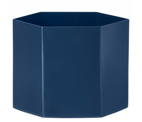 Ferm Living Pot Hexagon blauw Ø18x16cm- Extra large