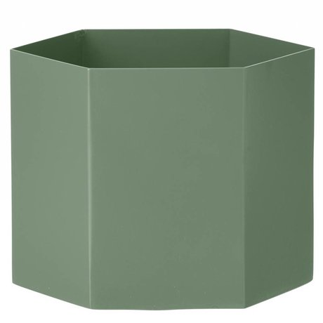 Ferm Living Pot Hexagon dusty groen Ø18x16cm- Extra large