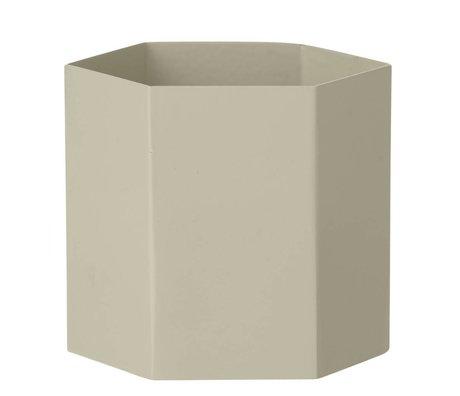 Ferm Living Pot Hexagon grijs Ø13,5x12cm- Large