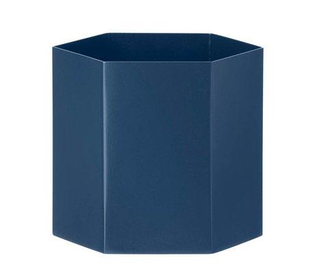 Ferm Living Pot Hexagon blauw Ø13,5x12cm- Large