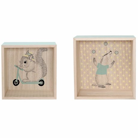 Bloomingville Display dozen set van twee 2 mint bruin hout 28x21x28/25x19x25cm