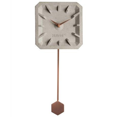 Zuiver Klok Tiktak Time grijs koper beton aluminium 15,5x37,5x4cm